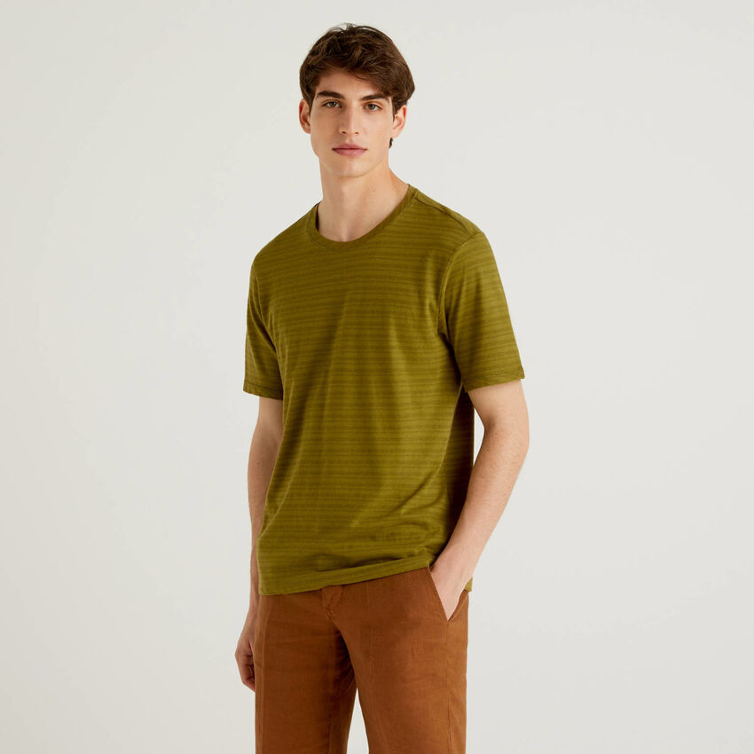 Striped t-shirt in linen blend