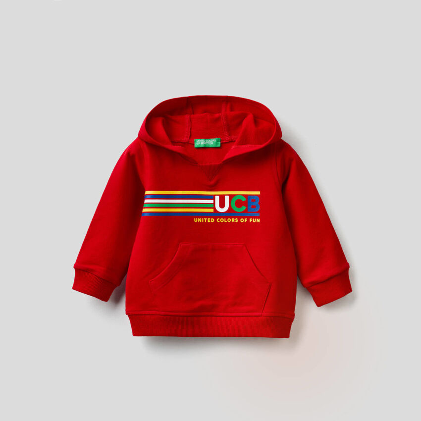 Hoodie in stretch cotton