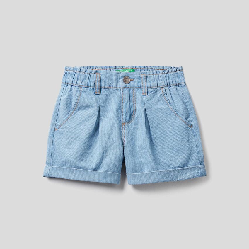 Denim look shorts with cuff