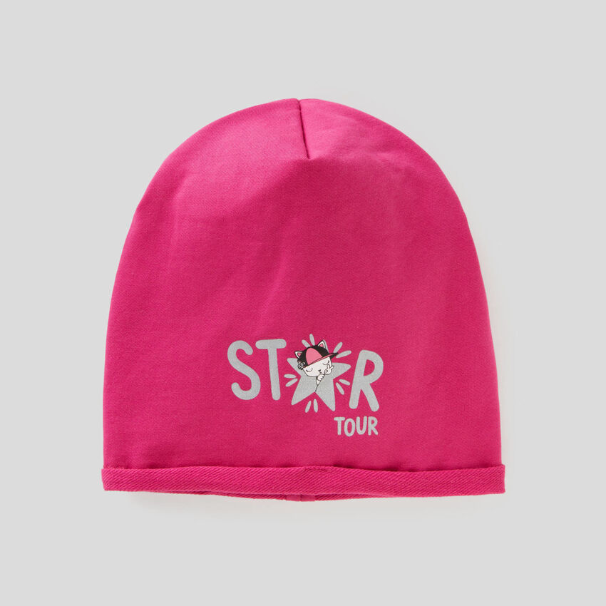Reversible hat in stretch cotton