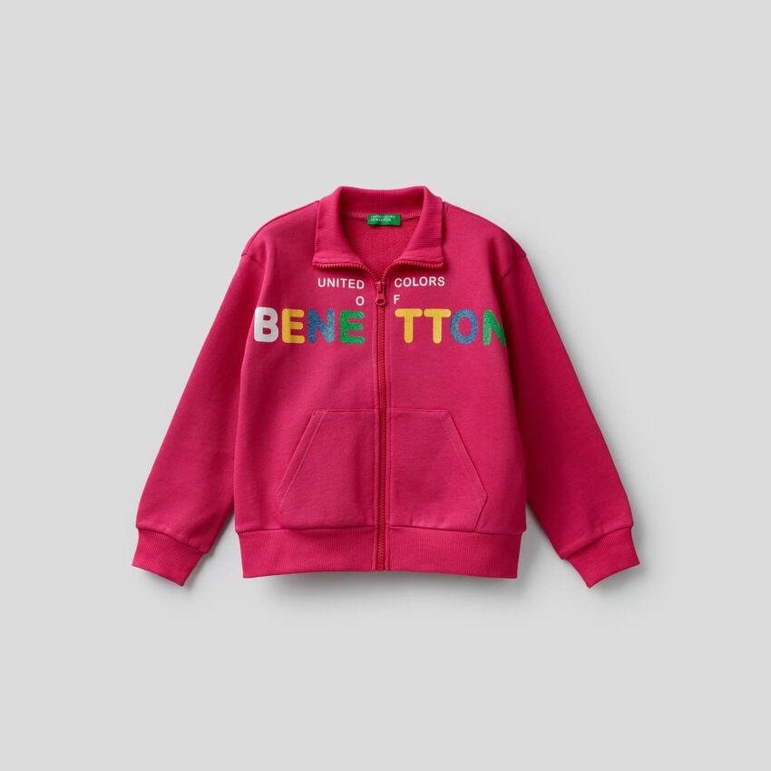 Pure cotton sweatshirt with zipper