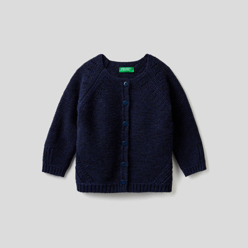 Cardigan with perforated details