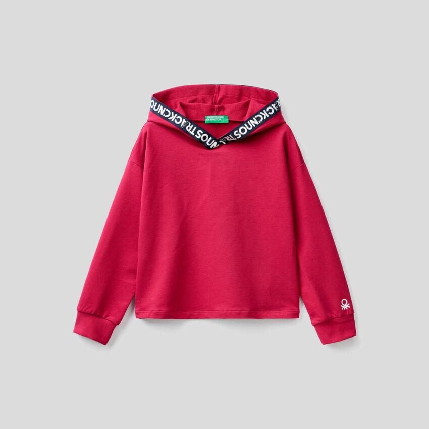 Cropped sweatshirt in stretch organic cotton