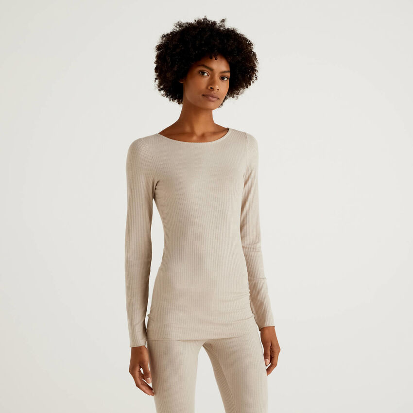 Long sleeve t-shirt in cashmere blend