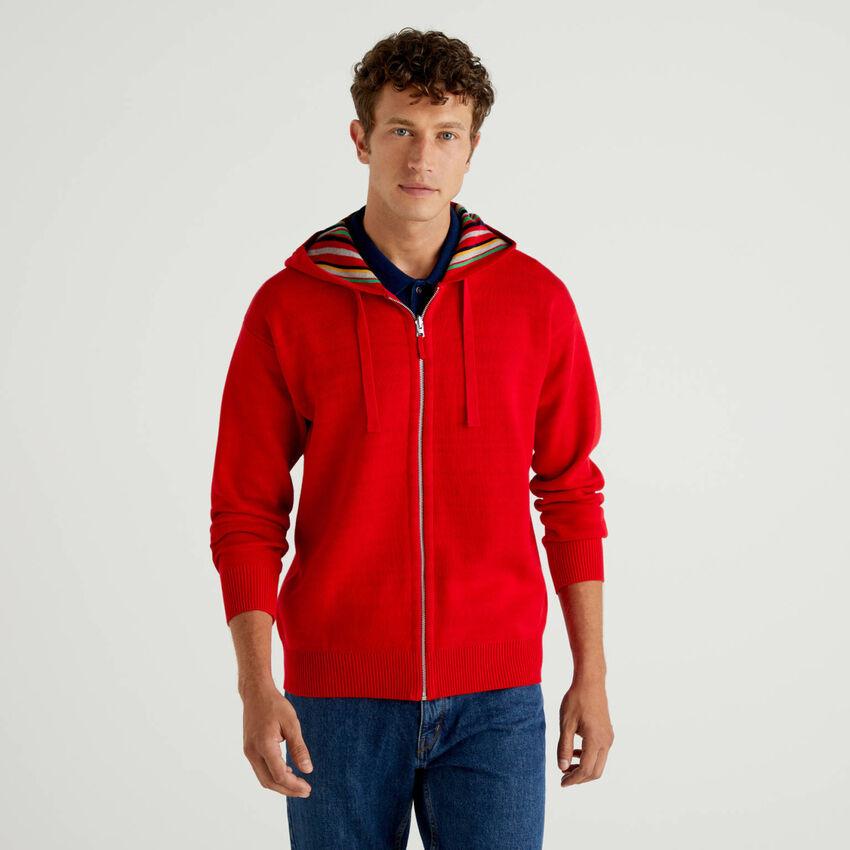 Reversible open cardigan with hood