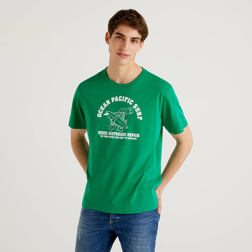 Green 100% cotton t-shirt with print
