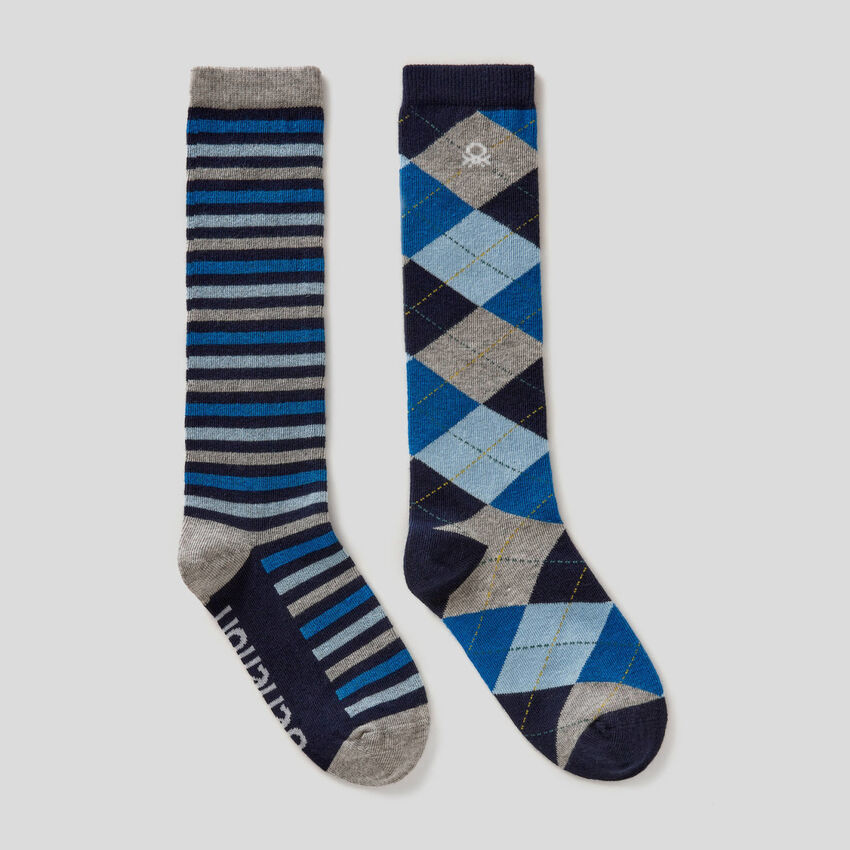 Two pairs of high patterned socks