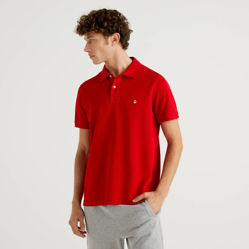Regular fit customizable red polo