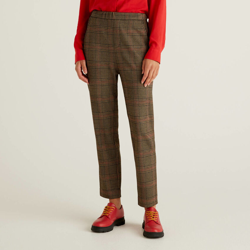 Patterned trousers with elastic waist