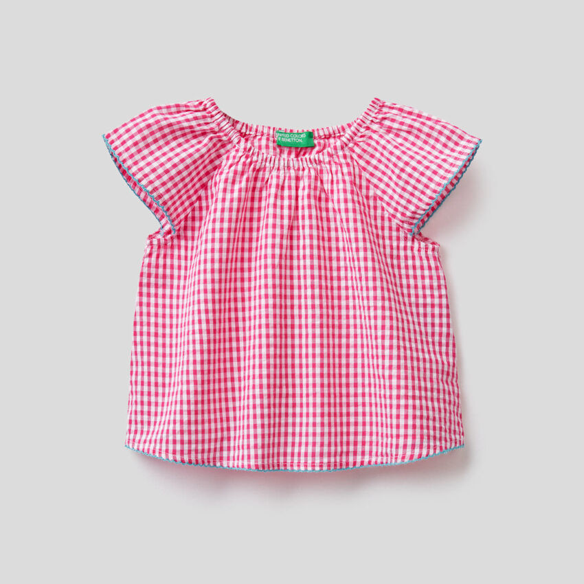 Vichy pattern blouse in 100% cotton