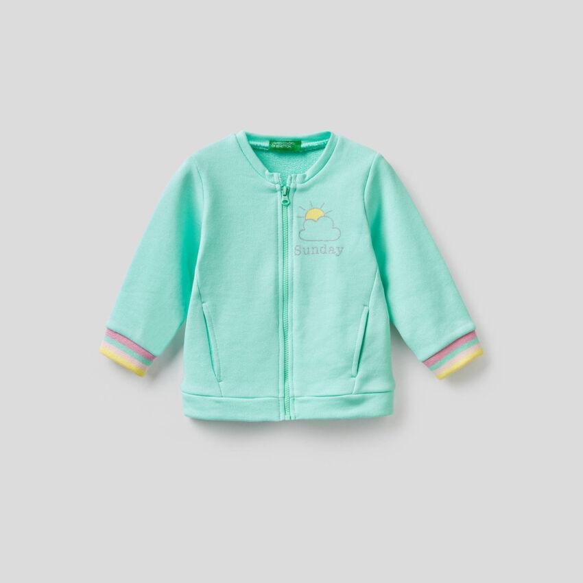100% cotton sweatshirt with zip