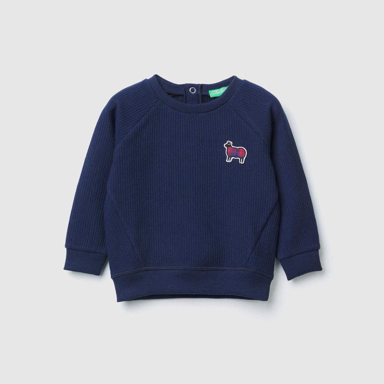 Crew neck sweatshirt with patches