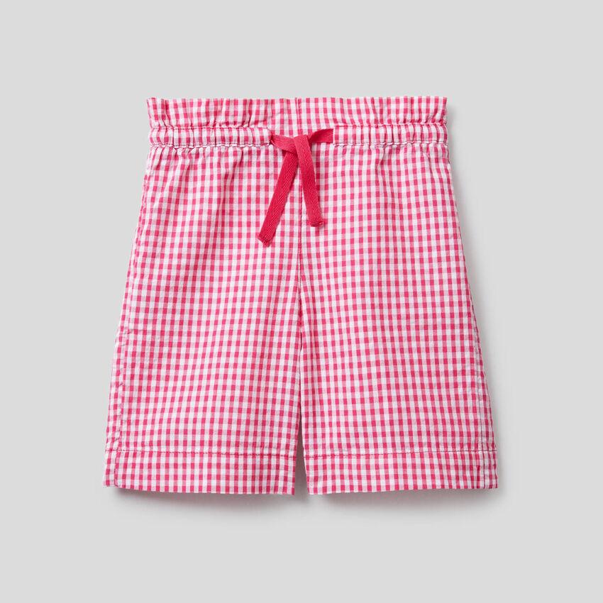 Vichy pattern bermudas in 100% cotton