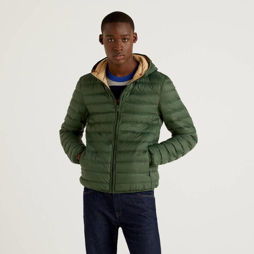 Military green lightweight puffer jacket with hood