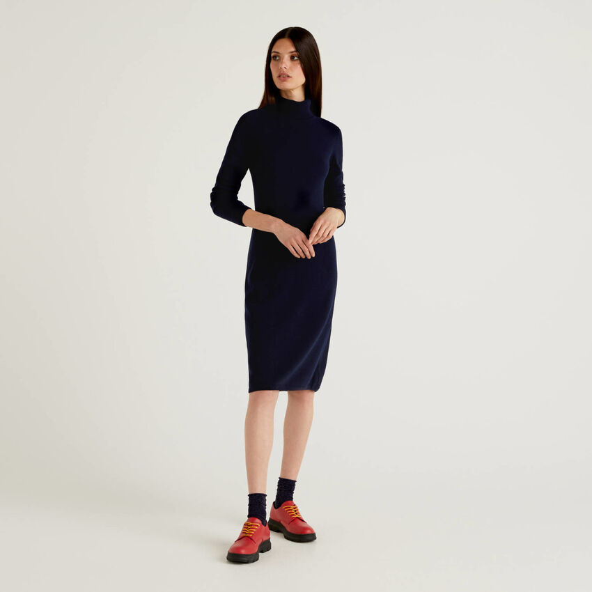 Knit dress with high neck