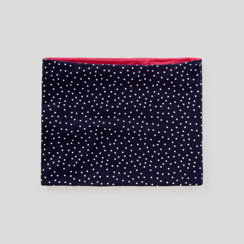 Reversible neck warmer in stretch cotton