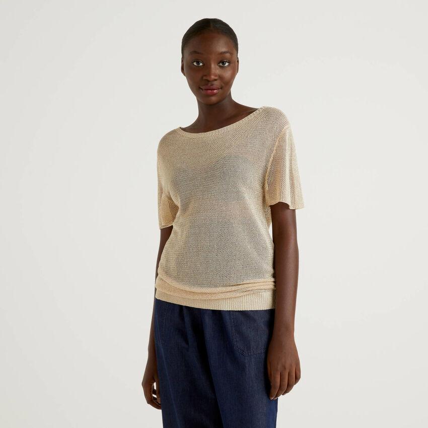 Mesh sweater with lurex