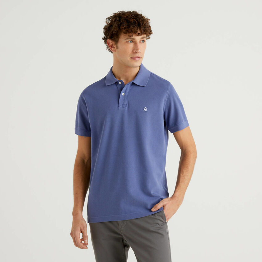Regular fit customizable air force blue polo