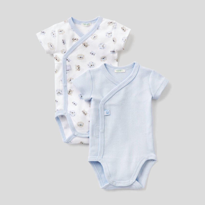 Two short sleeve bodysuits in organic cotton