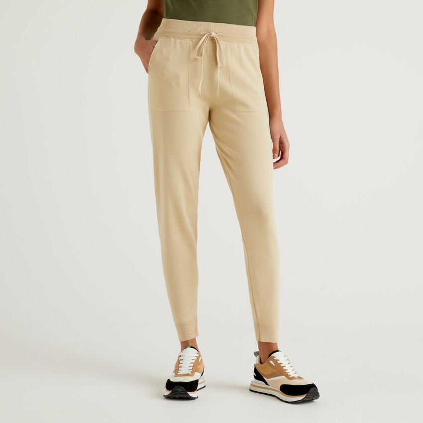 Trousers with drawstring in cotton tricot