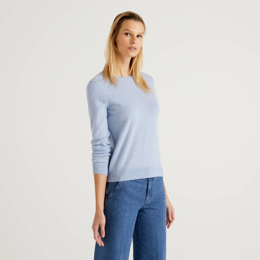 Sky blue crew neck sweater in pure virgin wool