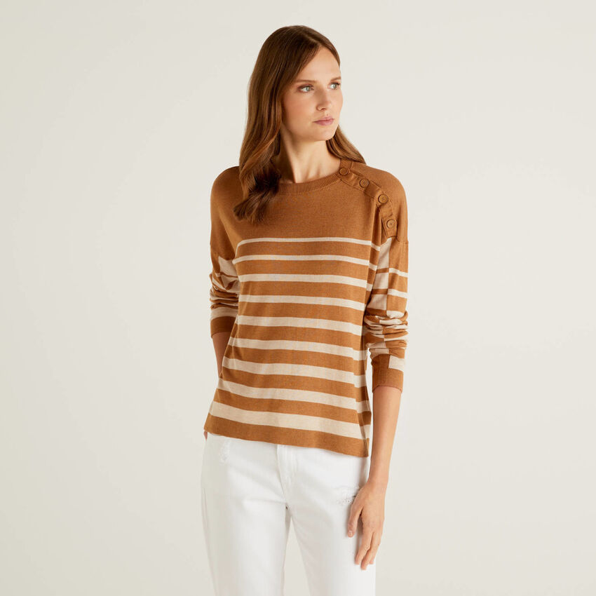 Striped sweater with button detail