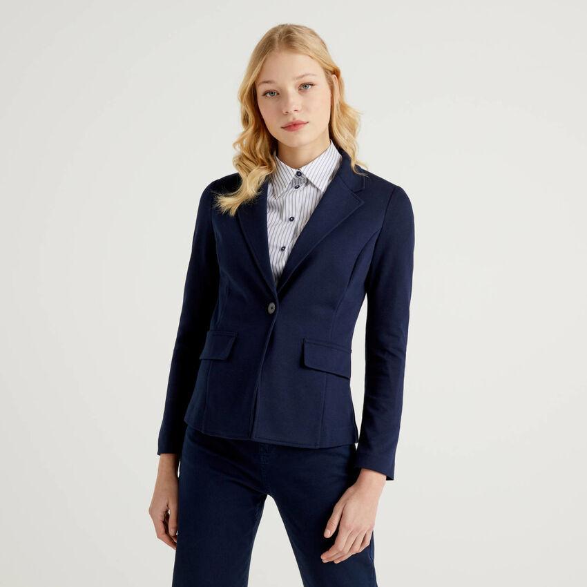 Dark blue blazer in stretch cotton blend