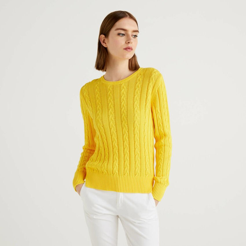Cotton sweater with cable knit
