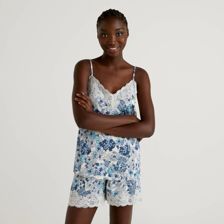 Floral tank top with elastic lace