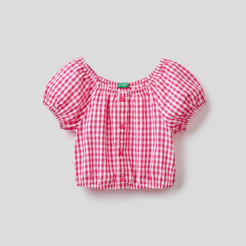 Cropped Vichy pattern blouse