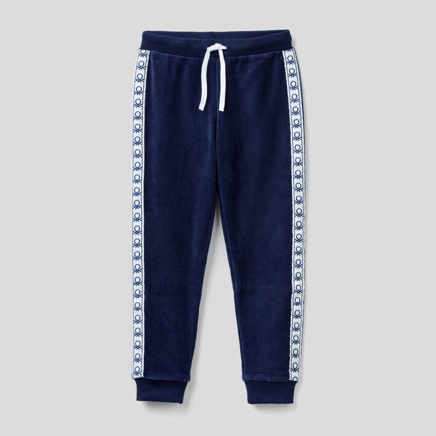 Chenille trousers with logo bands