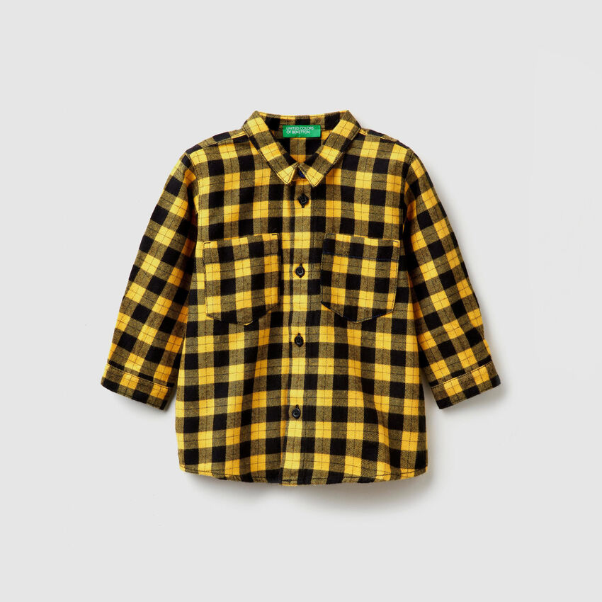 Check shirt with print on the back