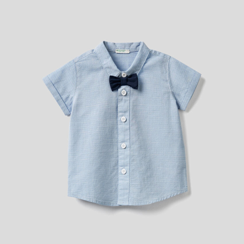 Shirt in pure cotton with bow tie