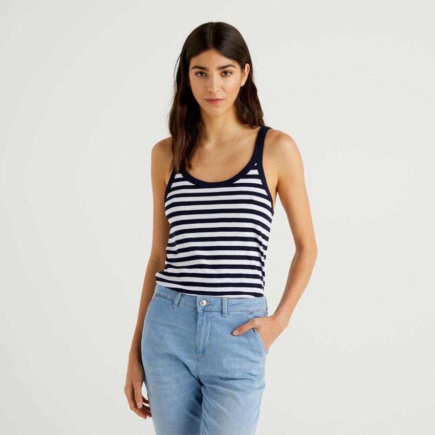 Dark blue striped tank top in 100% cotton