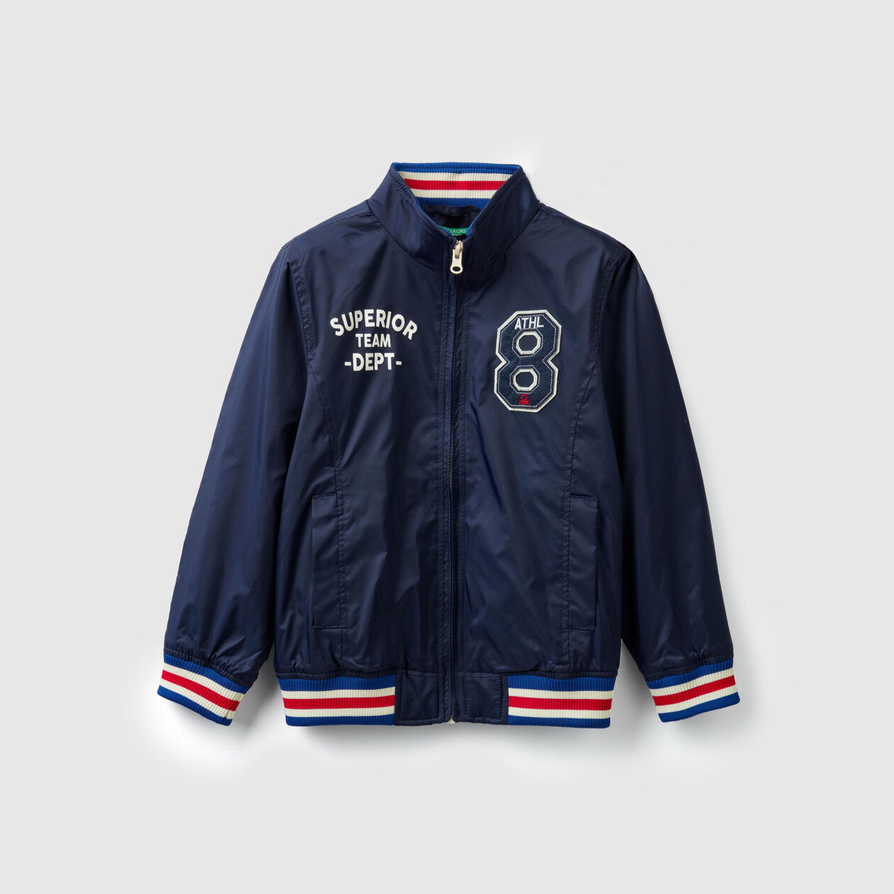 Jacket with patch and zipper