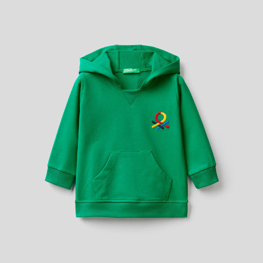 Hoodie in stretch organic cotton