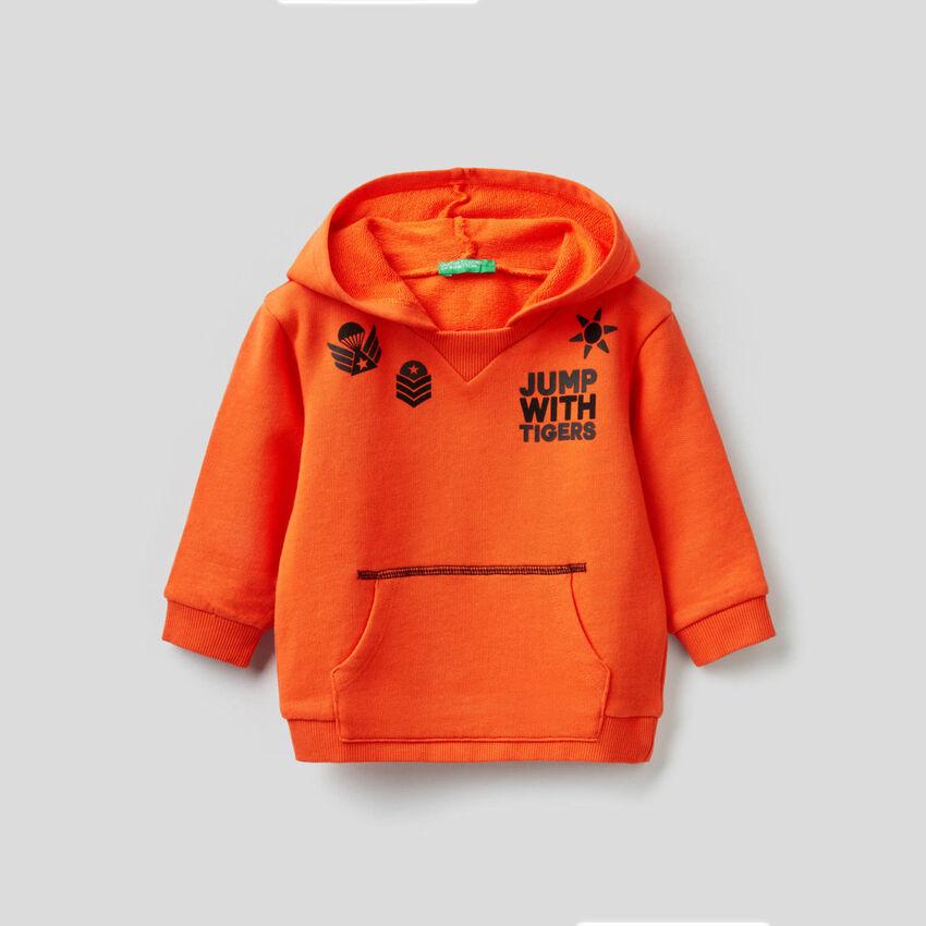 Sweatshirt with hood in pure cotton