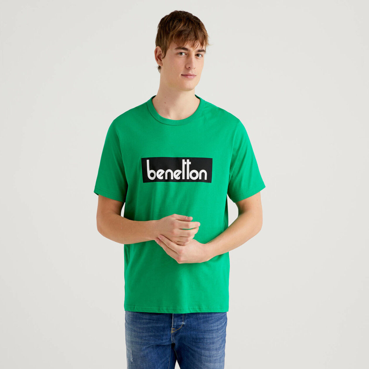 Green t-shirt with logo print