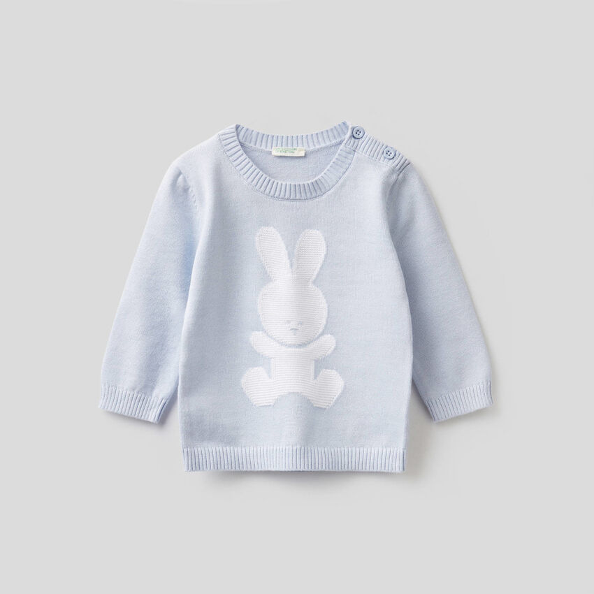 Crew neck 100% cotton sweater with inlay