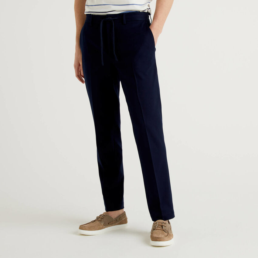 Regular fit trousers with drawstring