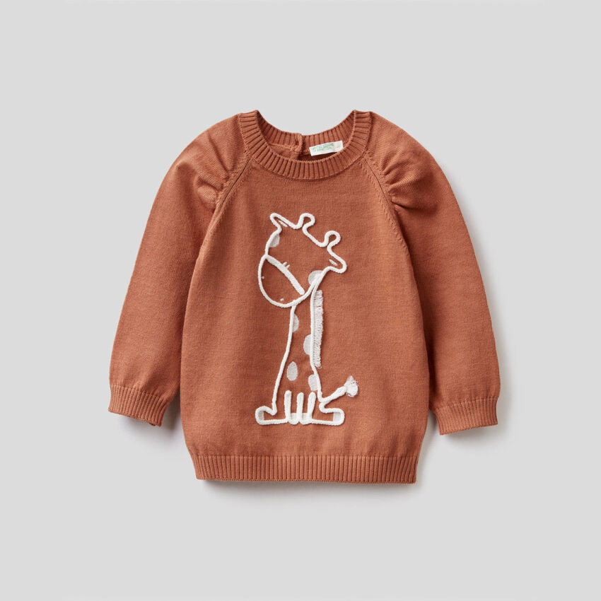 Sweater in pure cotton with embroidery