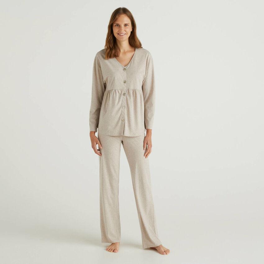 Pyjamas in long fiber cotton