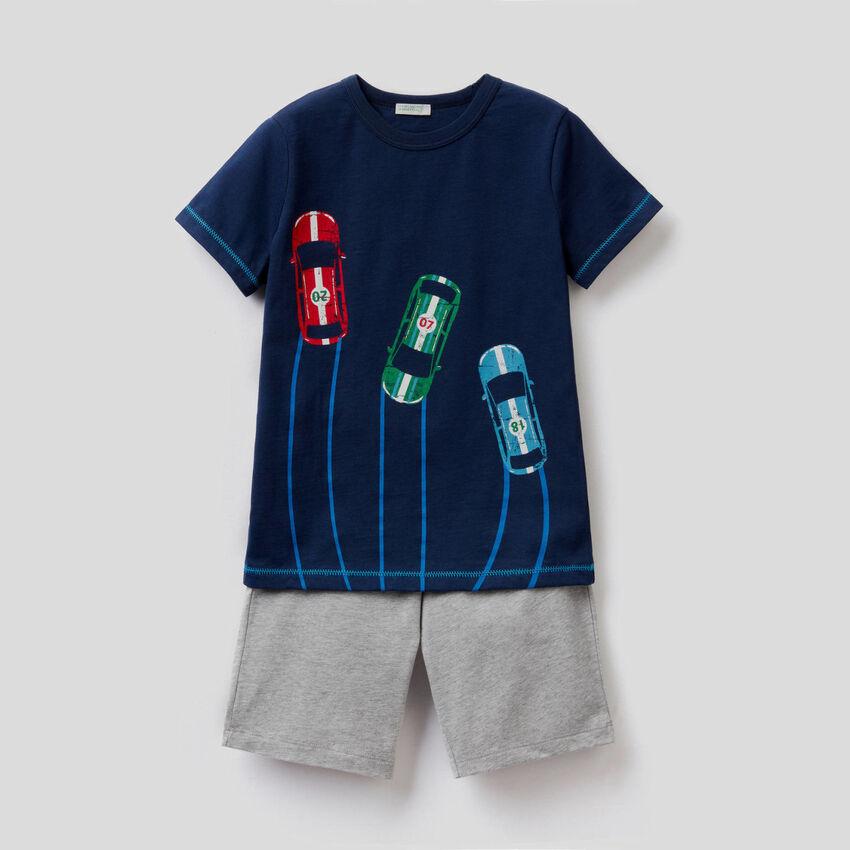 Cotton pyjamas with bermudas and t-shirt