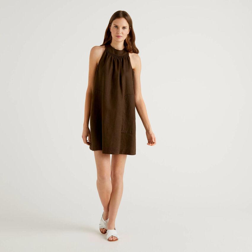 Cropped dress in 100% linen