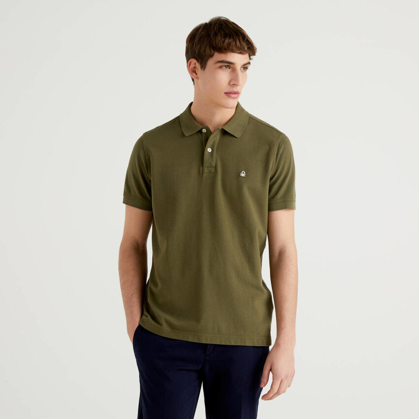 Regular fit military green polo