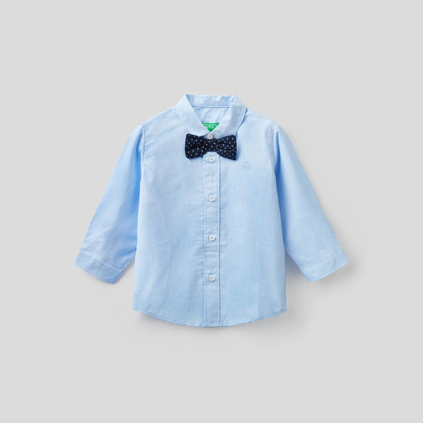 Shirt in cotton with bow tie
