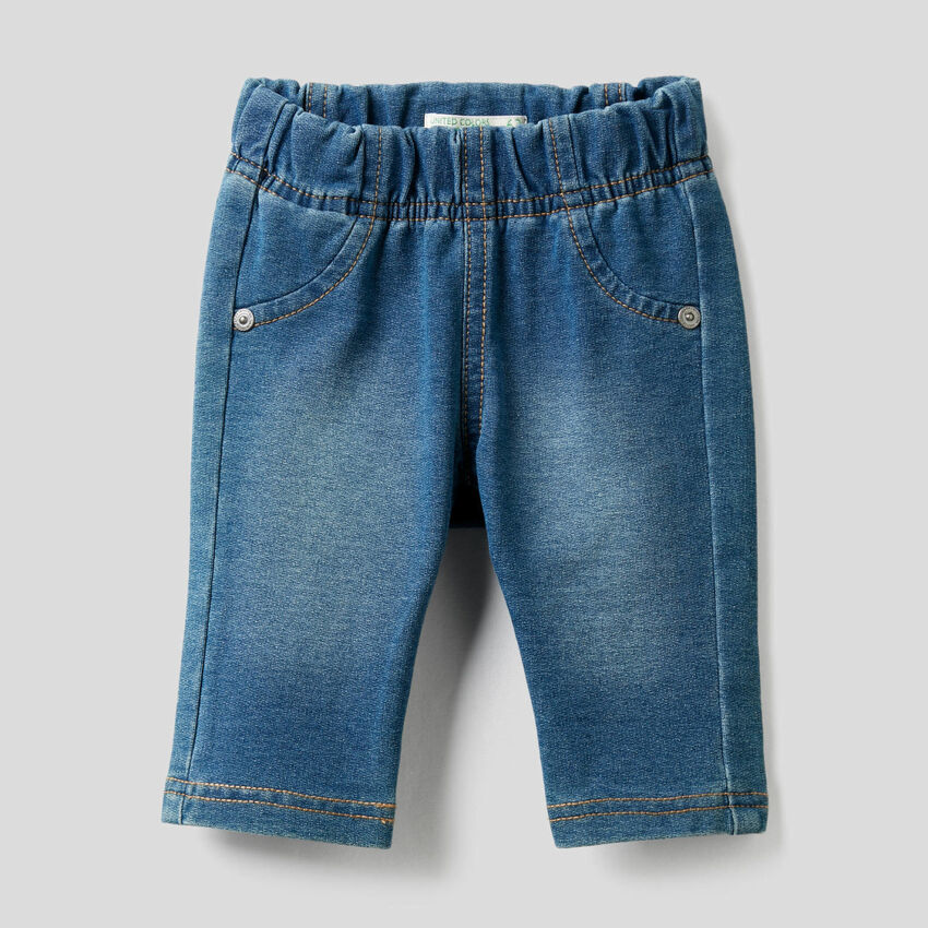 Denim look pants with print