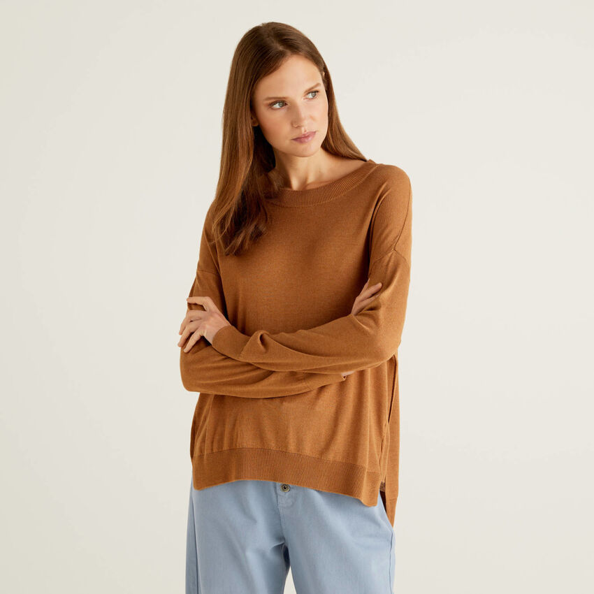 Relaxed fit sweater with slits