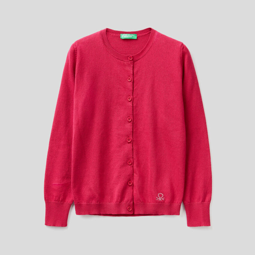 Tricot cardigan in 100% cotton