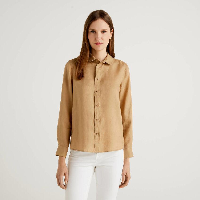 Long sleeve shirt in pure linen
